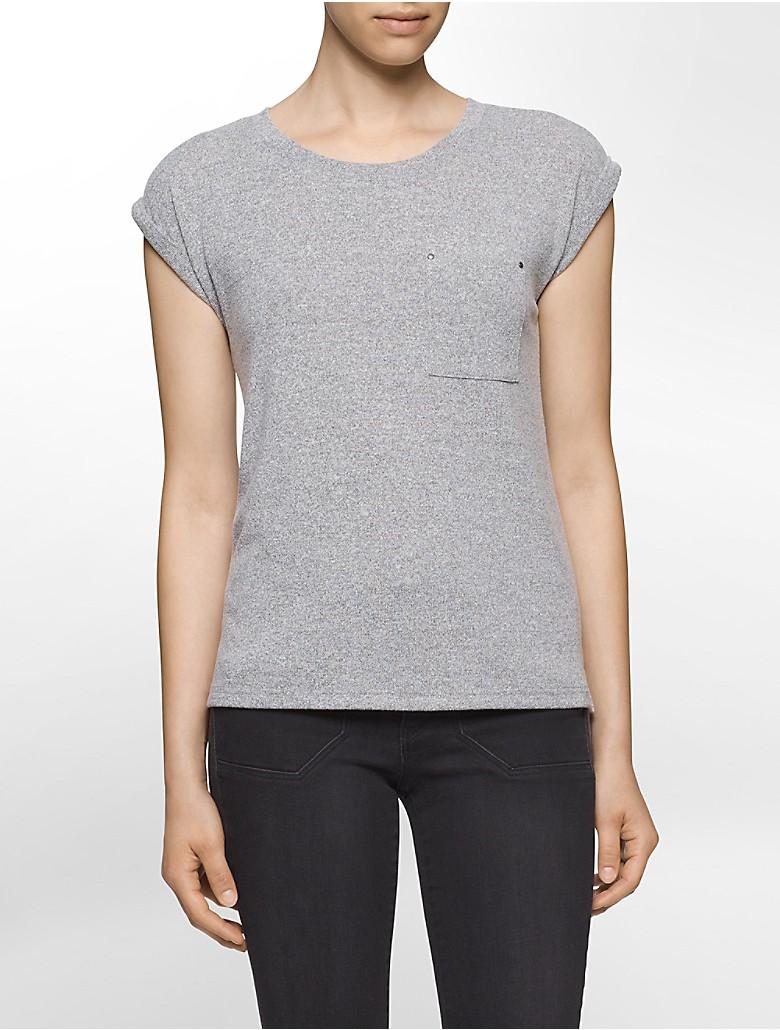 calvin klein womens suede jersey t shirt ebay