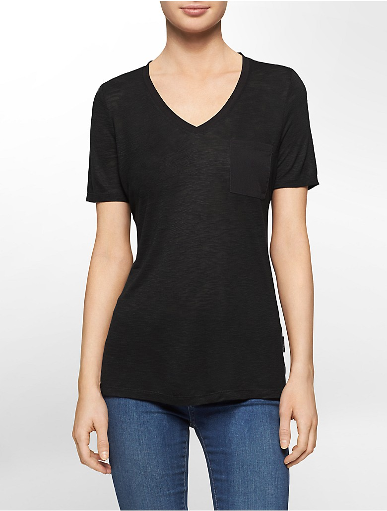 Calvin Klein Womens Solid V Neck High Low Slub T Shirt Ebay