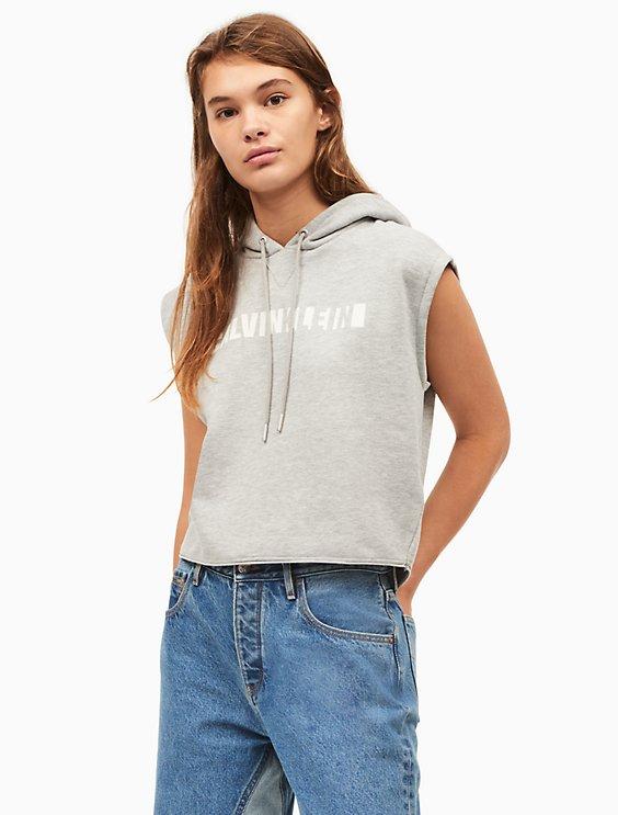 contrast logo cropped hooded sweatshirt | Calvin Klein