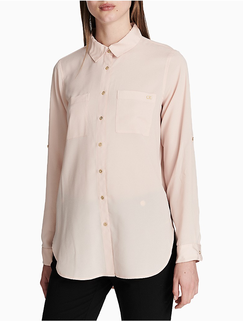 Calvin klein womens solid roll up sleeve tunic shirt ebay for How to roll up sleeves on women s dress shirt