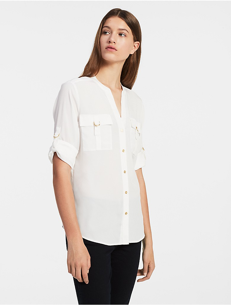 Calvin klein womens solid d ring roll up sleeve top shirt for How to roll up sleeves on women s dress shirt