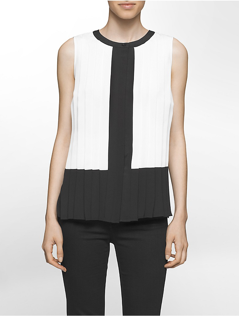 Calvin klein womens colorblock pleated top shirt ebay for Calvin klein dress shirts sale
