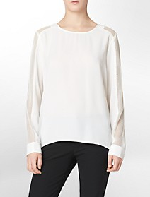 solid mesh sleeve top $29.99