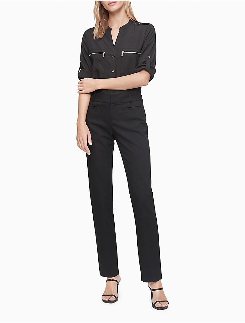 Calvin Klein Womens Mandarin Collar Exposed Zip Detail