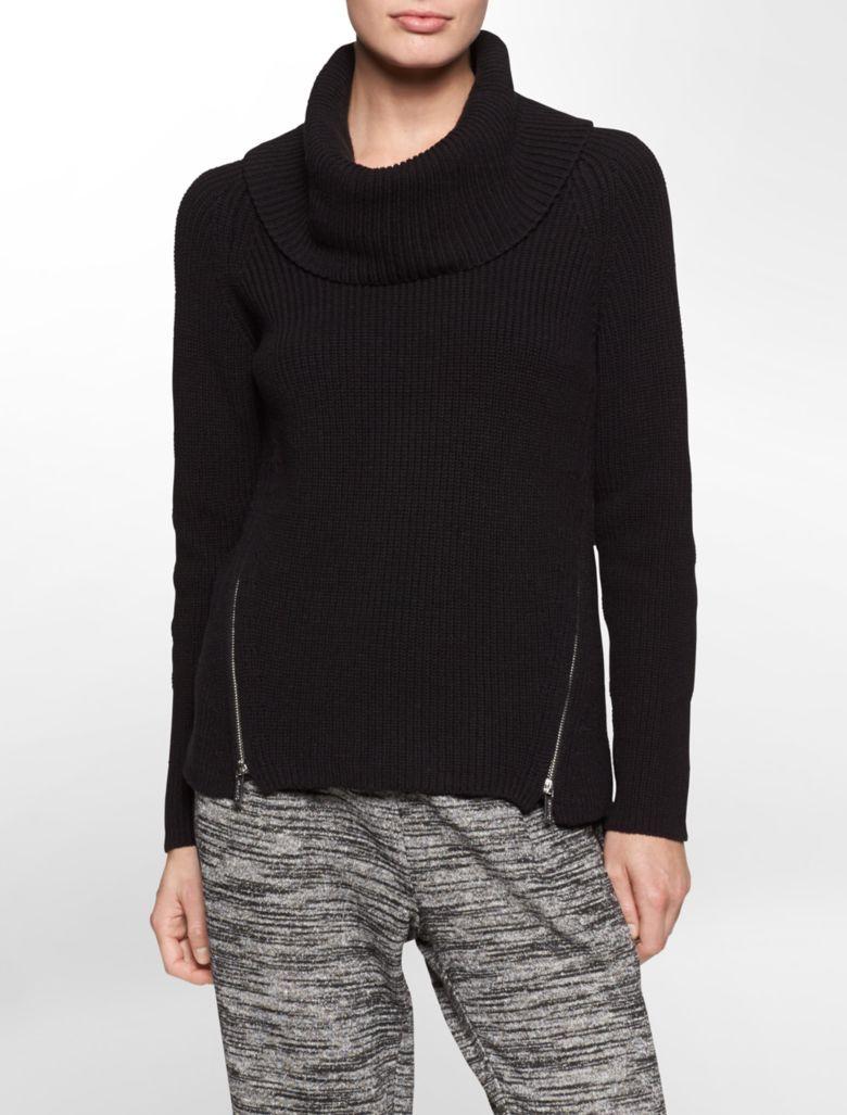 calvin klein womens rib knit side zip turtleneck sweater ...