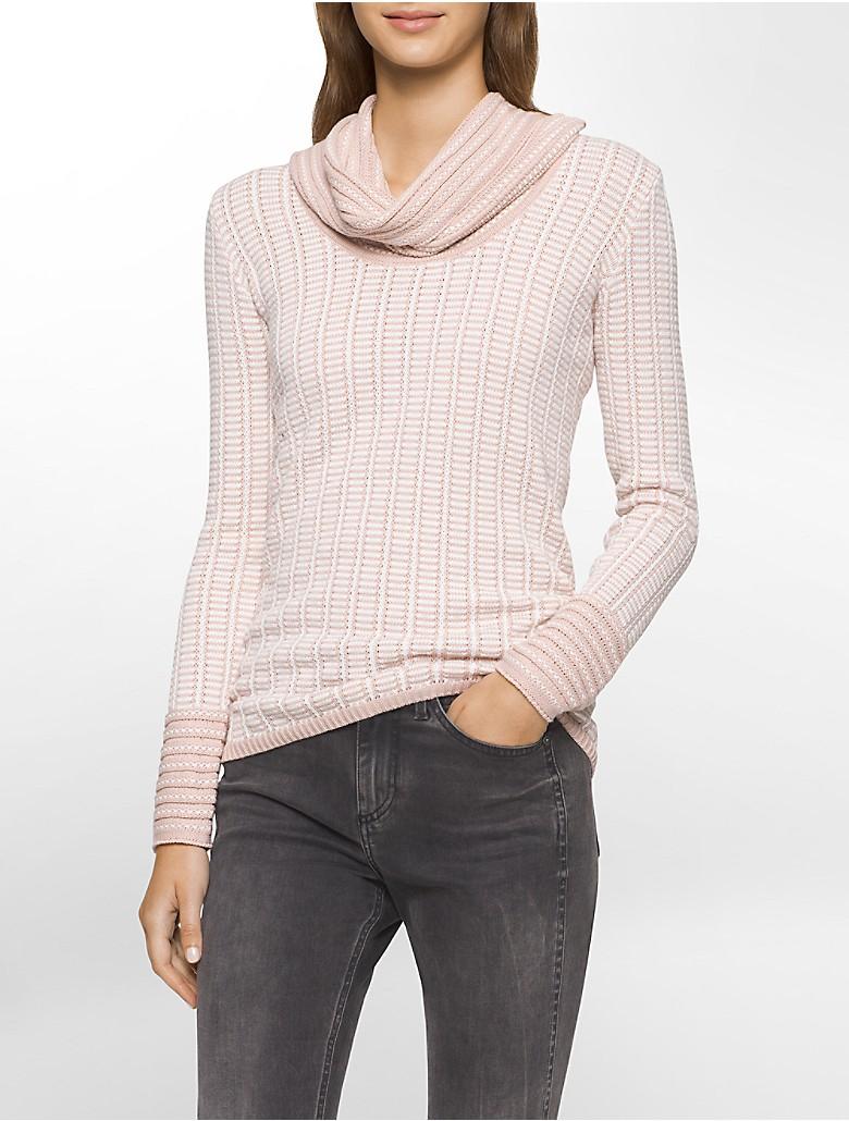 calvin klein womens grid striped cowl neck sweater ebay. Black Bedroom Furniture Sets. Home Design Ideas