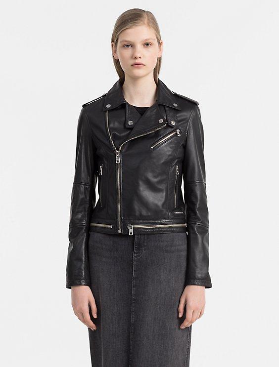 soft leather biker jacket   Calvin Klein