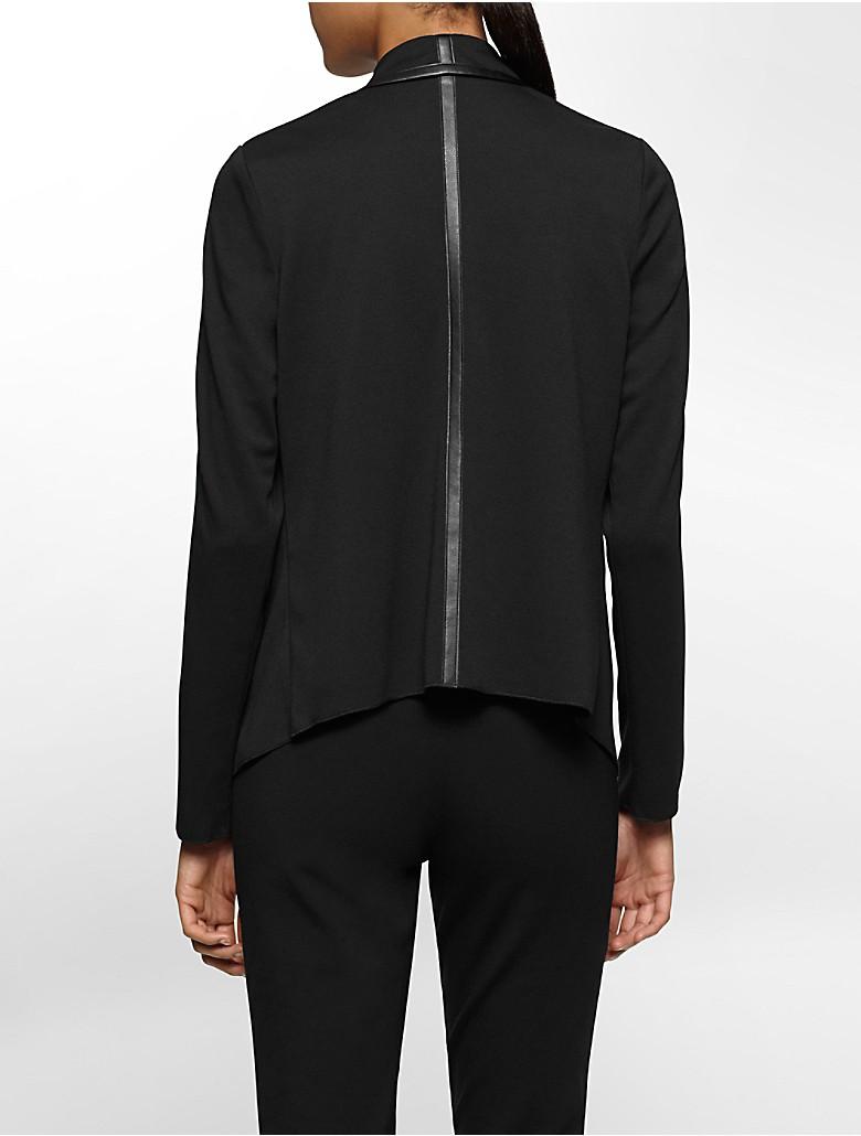 calvin klein womens faux leather trim flyaway sweater. Black Bedroom Furniture Sets. Home Design Ideas