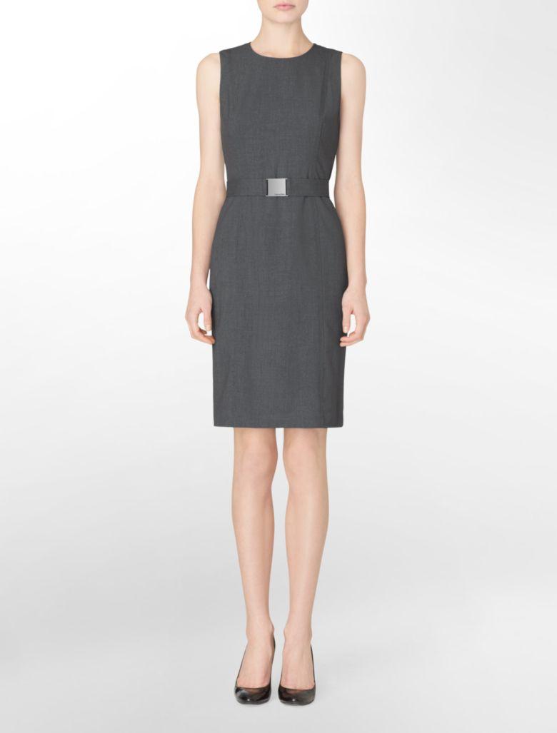 Calvin Klein Womens Sleeveless Belted Charcoal Dress | EBay