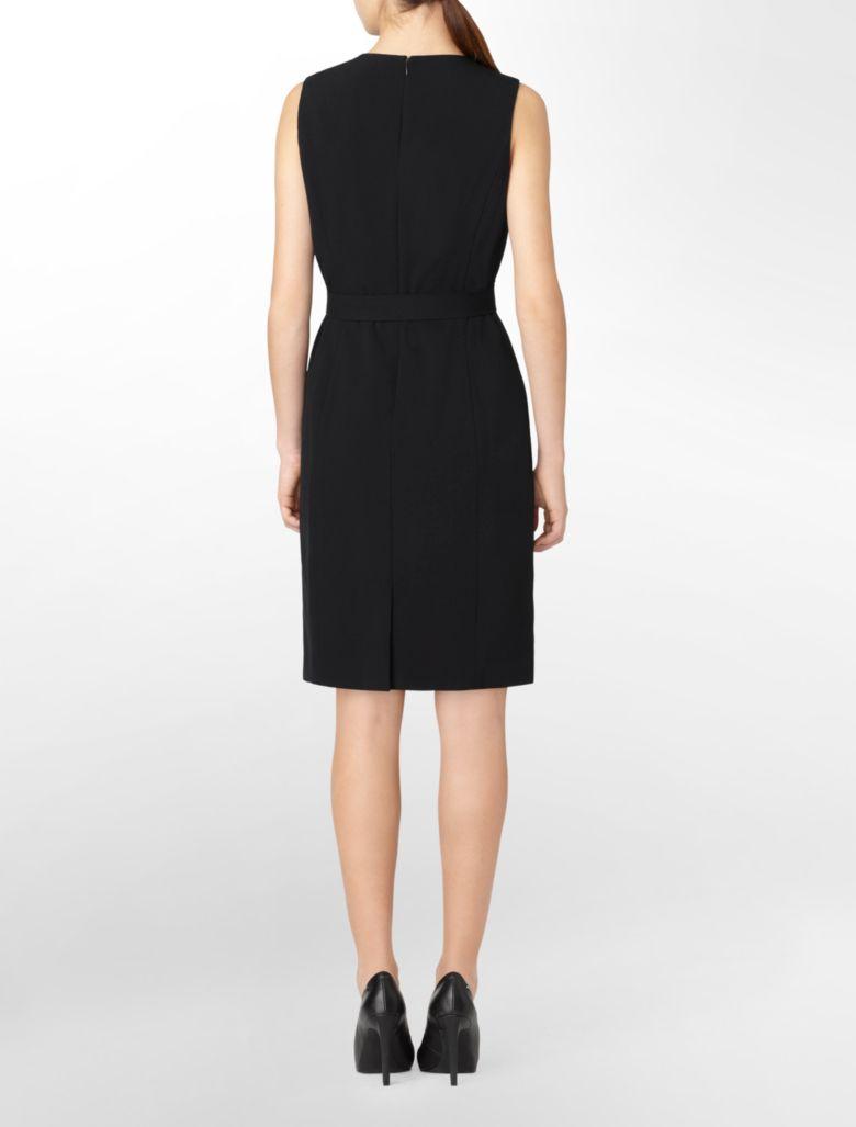calvin klein womens navy belted sleeveless sheath dress ebay