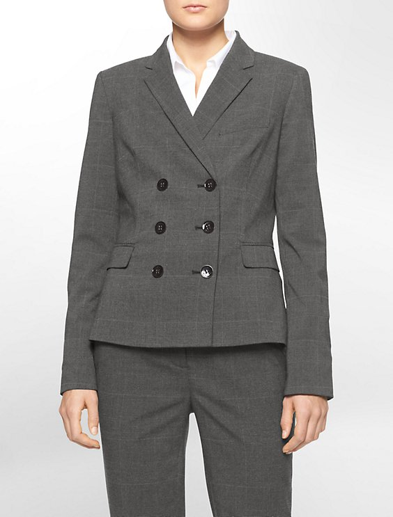 double breasted plaid suit jacket | Calvin Klein