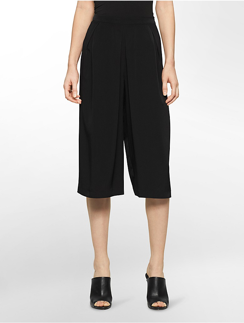 calvin klein womens pleated front culotte pants. Black Bedroom Furniture Sets. Home Design Ideas