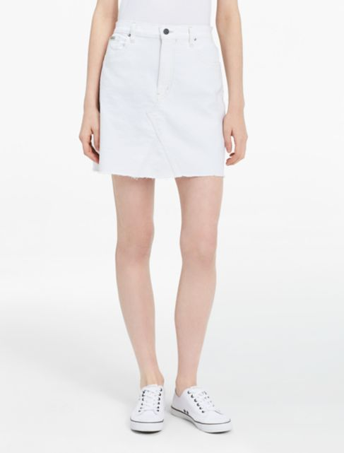 white denim a-line skirt | Calvin Klein