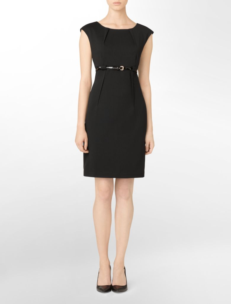 calvin klein womens pleated belted black sheath dress ebay