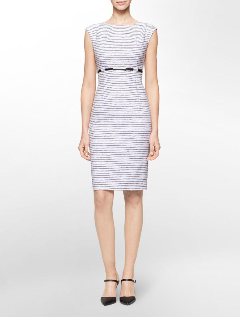 calvin klein womens striped belted cap sleeve sheath dress