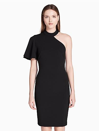 one shoulder ruffle choker sheath dress