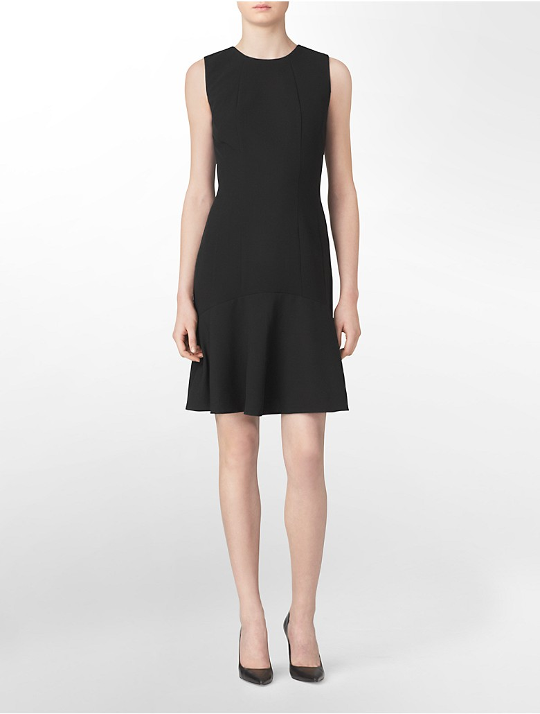 Calvin klein womens solid fit flare sleeveless dress ebay for Calvin klein x fit dress shirt