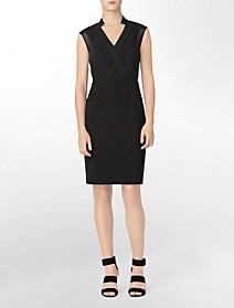 sheer accent + pleated sleeveless shift dress $49.99