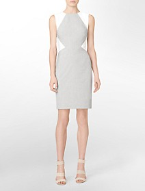 sharkskin colorblock sleeveless sheath dress $59.99