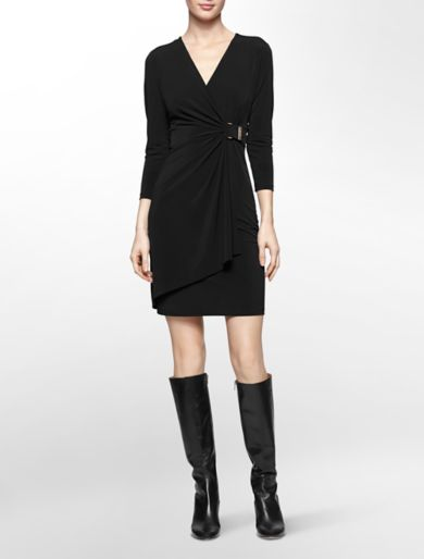 buckle wrap long sleeve dress