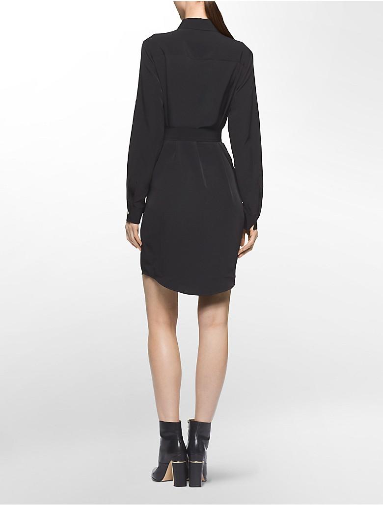 Calvin Klein Womens Tie Waist Button Front Roll Up Sleeve