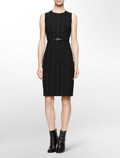 studded belted sleeveless sheath dress