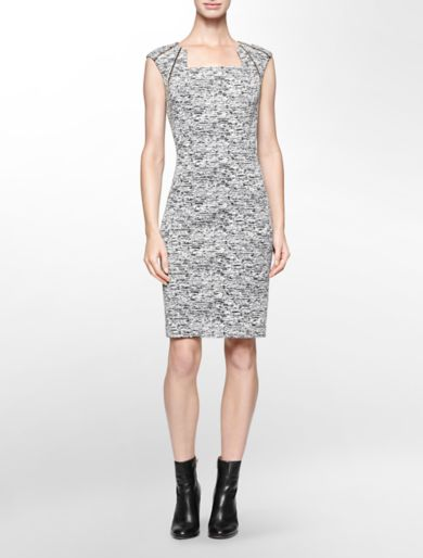 zip detail heathered cap sleeve sheath dress