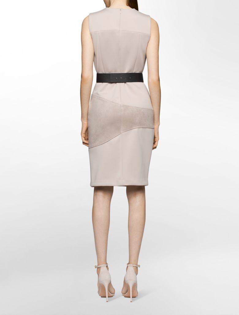 calvin klein womens suede trim belted sheath dress ebay