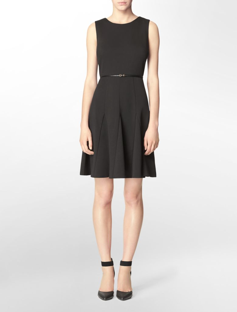 calvin klein womens belted cotton stretch sleeveless fit
