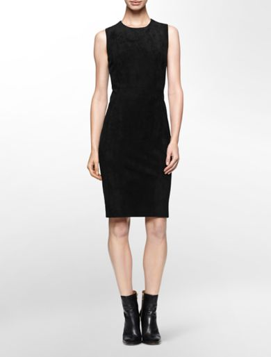 suede sleeveless sheath dress