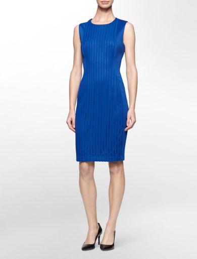 mesh center sleeveless sheath dress