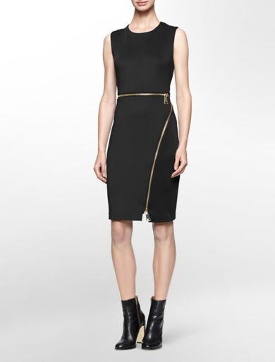 oversized zip detail sleeveless sheath dress