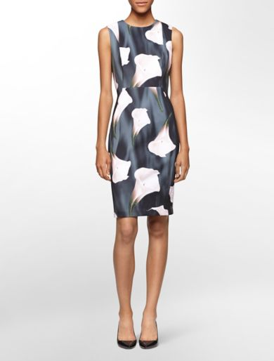 neoprene oversized floral print sleeveless sheath dress