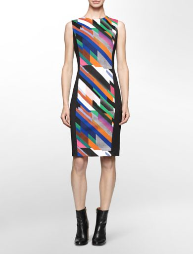 neoprene abstract stripe center sleeveless sheath dress