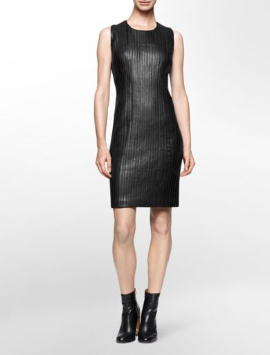 faux leather piped sleeveless sheath dress