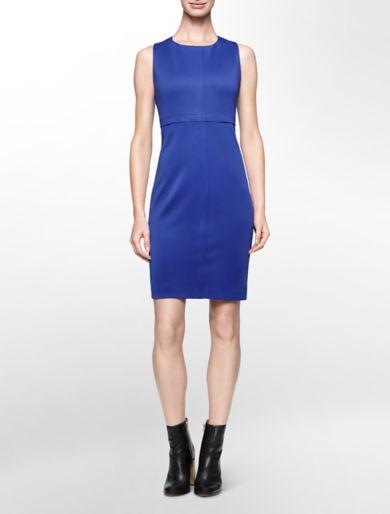 seamed sleeveless sheath dress
