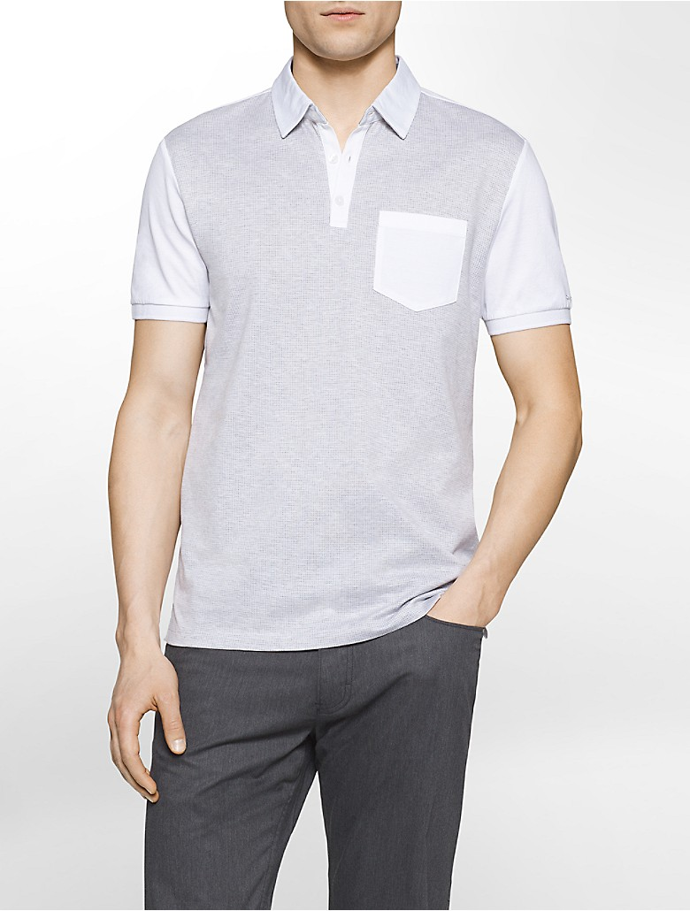 Calvin klein mens slim fit colorblock mercerized polo shirt for Calvin klein x fit dress shirt