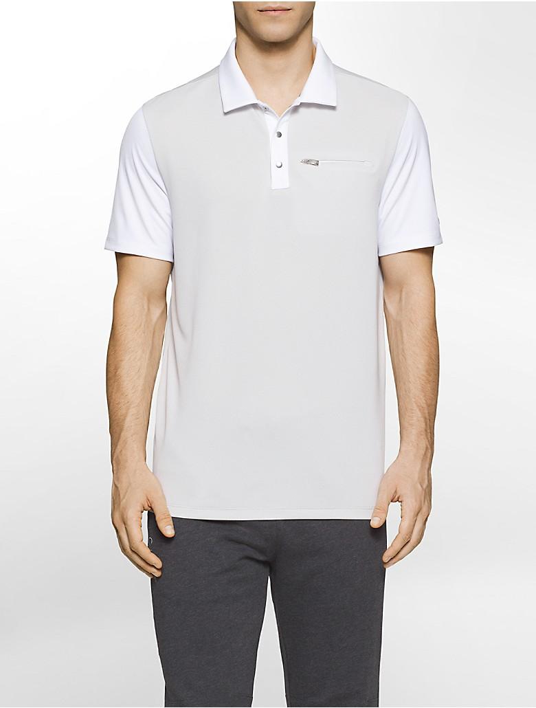 Calvin klein mens performance cool tech polo shirt ebay for Cool mens polo shirts
