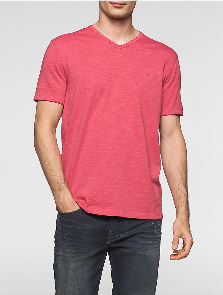 Calvin klein mens slim fit mixed media v neck t shirt ebay for Calvin klein x fit dress shirt