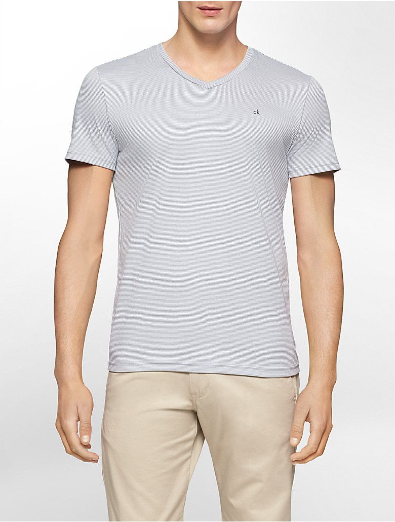 Calvin klein mens body slim fit striped v neck pima cotton for Pima cotton tee shirts