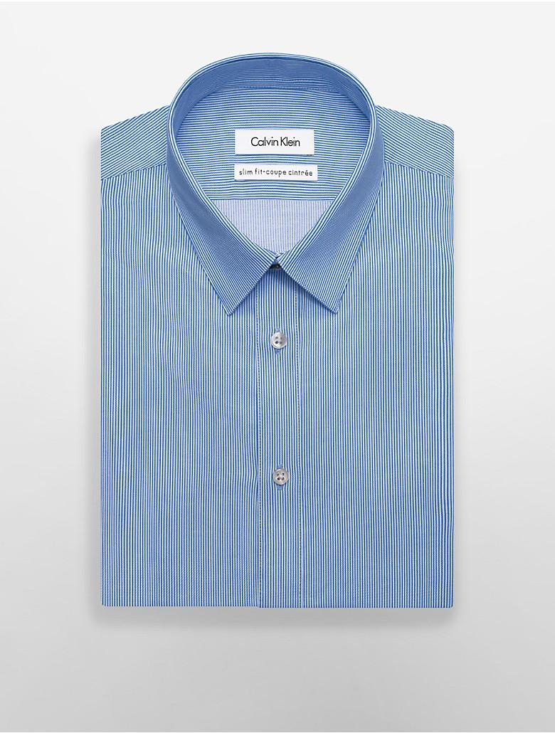 Calvin klein mens x fit ultra slim fit thin stripe dress for Calvin klein x fit dress shirt
