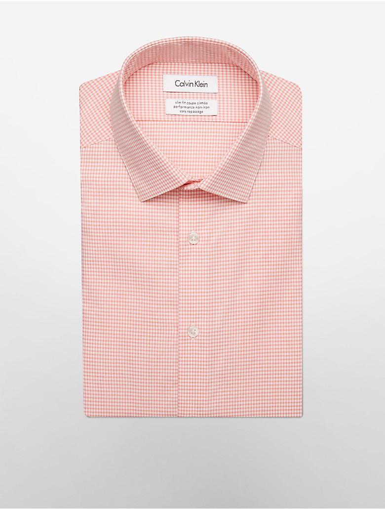 Calvin klein mens steel slim fit gingham dress shirt for Mens gingham dress shirt