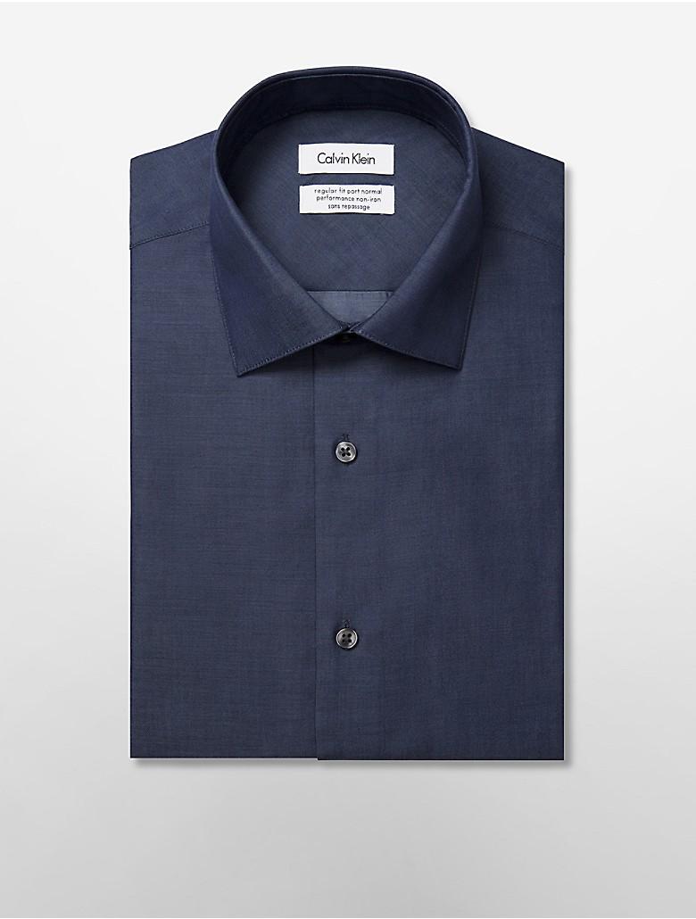 Calvin klein mens steel regular fit non iron chambray for Men s no iron dress shirts