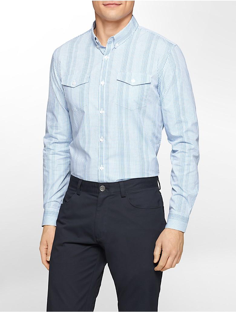 Calvin Klein Mens Slim Fit Gingham Multi Check Shirt Ebay
