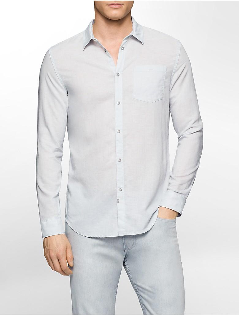 calvin klein mens slim fit linen blend shirt ebay