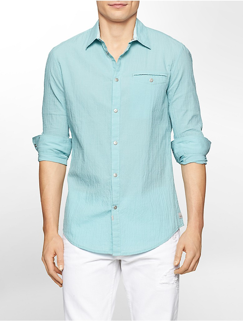 Calvin klein mens slim fit seersucker mini check shirt for Mens seersucker shirts on sale