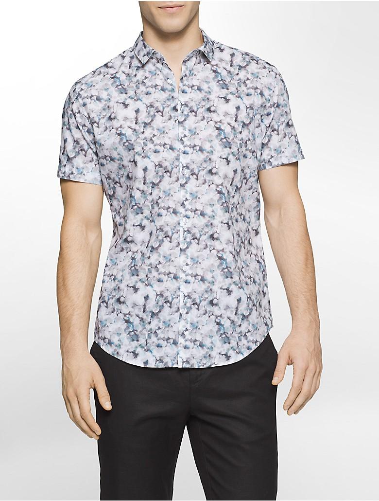 Calvin Klein Mens Slim Fit Floral Short Sleeve Shirt Ebay