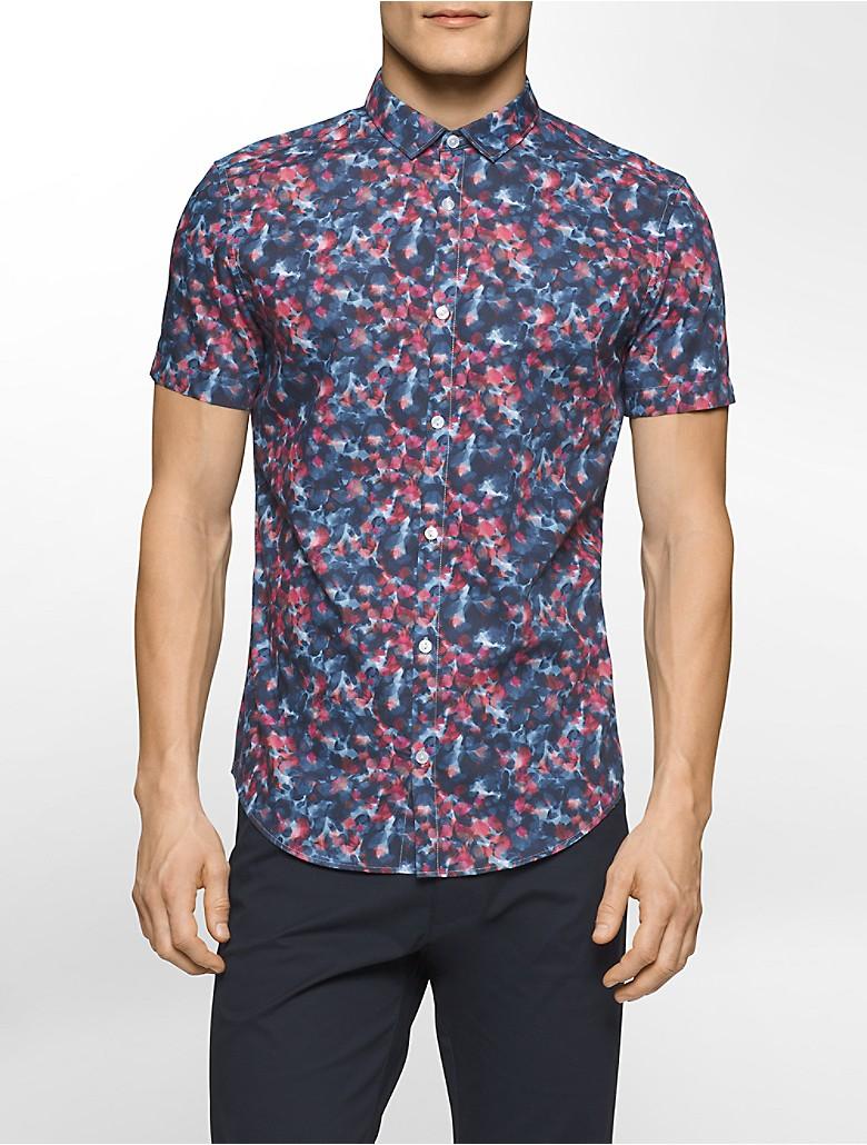 Calvin klein mens slim fit floral short sleeve shirt ebay for Mens short sleeve floral shirt