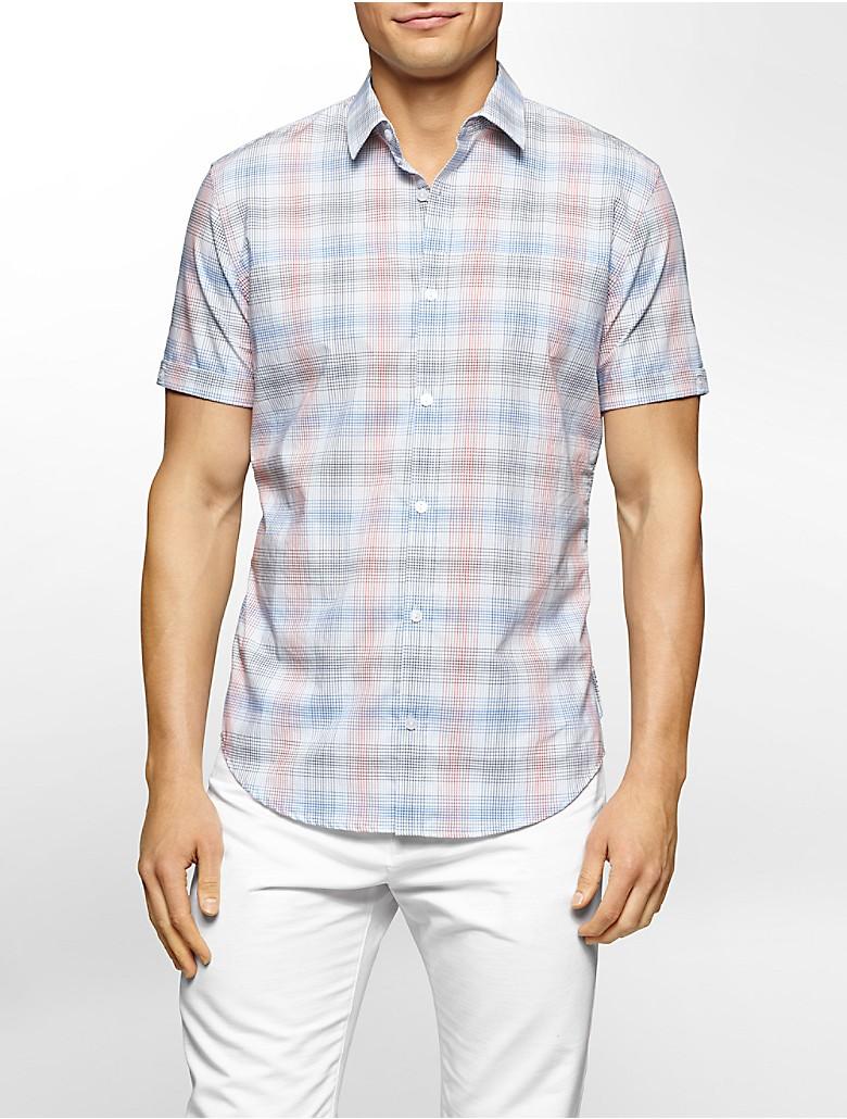 Calvin Klein Mens Slim Fit Check Plaid Cotton Twill Shirt