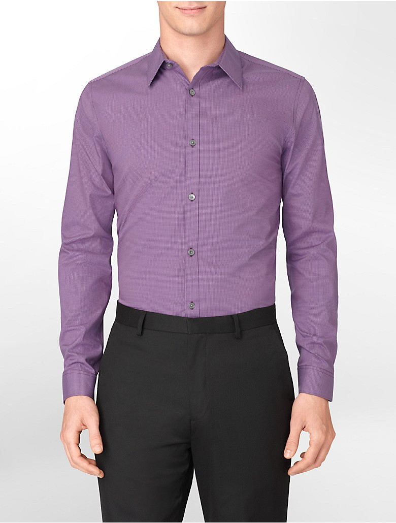 Calvin klein mens classic fit striped non iron button Light purple dress shirt men